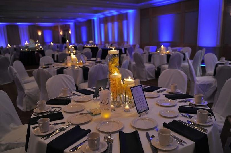 Table set-up with candle centerpiece