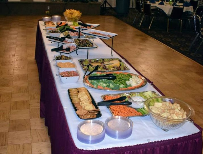 Catered buffet in banquet hall