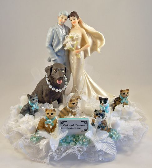 Our customized Yours Mine and Ours Pet cake topper featuring a chocolate lab and 5 cats.  Shown...