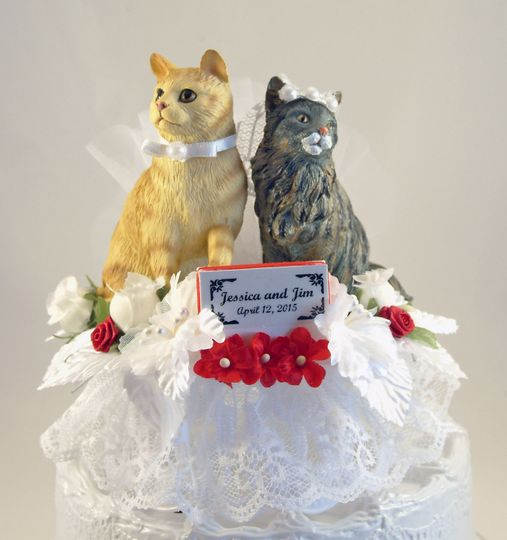 Our customized Purrfect Match Cat Bride and Groom cake topper.  Shown in white with red accents....
