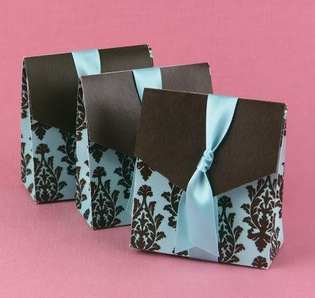 """Ribbon Weave Favor Boxes: These elegant, delicately patterned favor boxes measure 2"""" x 2"""" x 2"""" and..."""