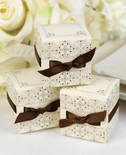 """ivory favor boxes with brown satin ribbons are also available. Ribbons are ⅜"""" wide and are pre-cut..."""