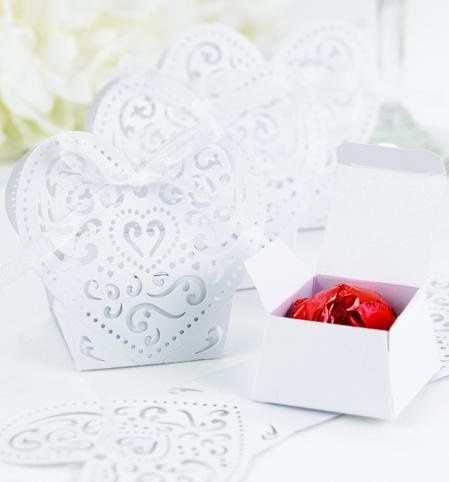 Heart-Shaped Decorative Die-Cut White Favor Boxes: These romantic white shimmer favor boxes feature...