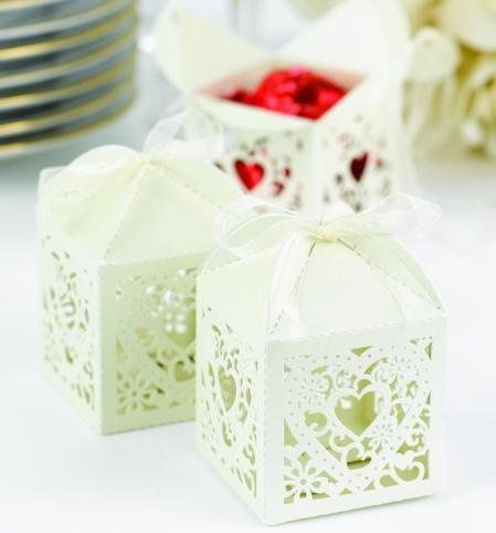 Square Decorative Die-Cut Favor Boxes: These unforgettable square ivory shimmer favor boxes measure...