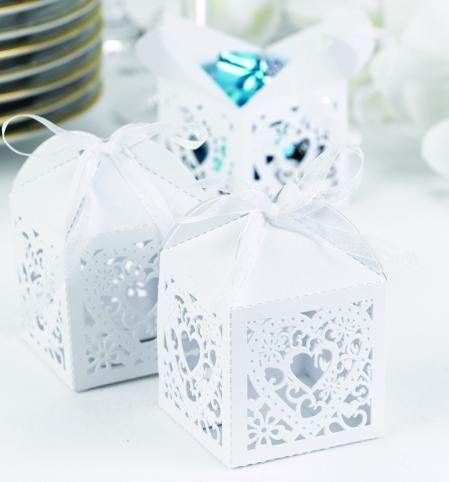 Square Decorative Die-Cut Favor Boxes: These unforgettable square white shimmer favor boxes measure...