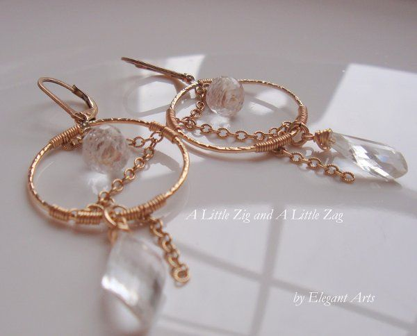 Zig Zag Earrings in Crystal Quartz