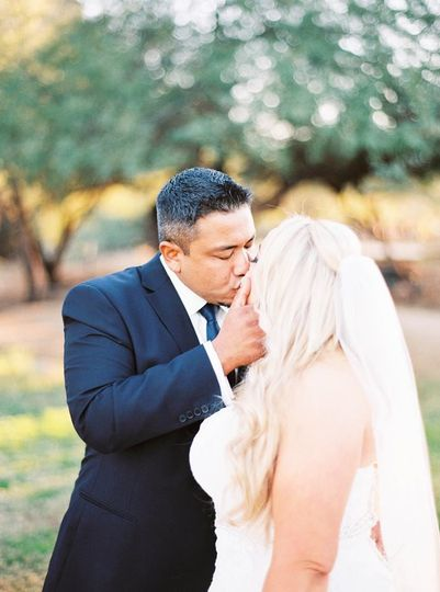 Couple kisses