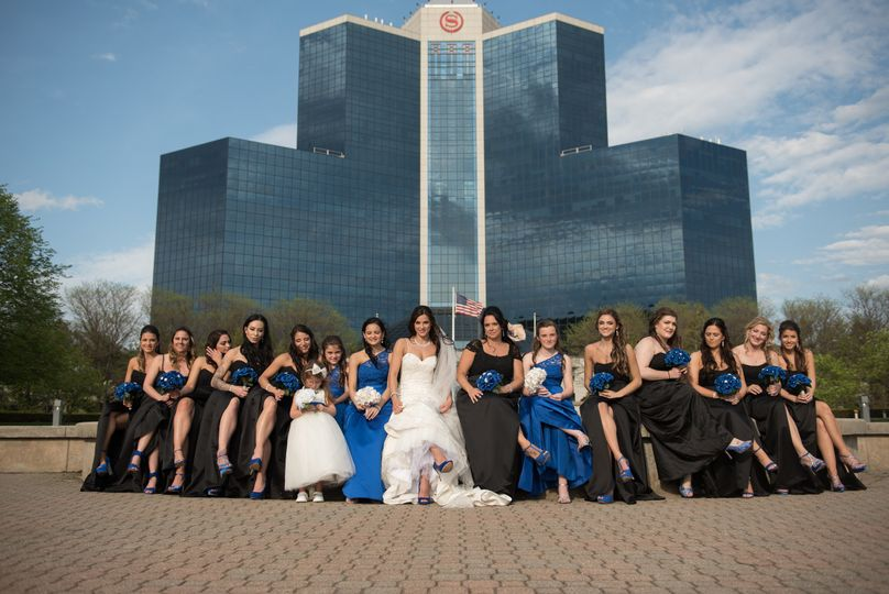 The bride and wedding attendants