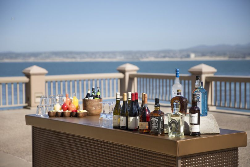 An incredible bar-set up, perfectly prepared for cocktail hour over monterey bay!