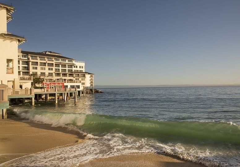Perched dramatically on historic beachfront property within monterey bay's cannery row, monterey...