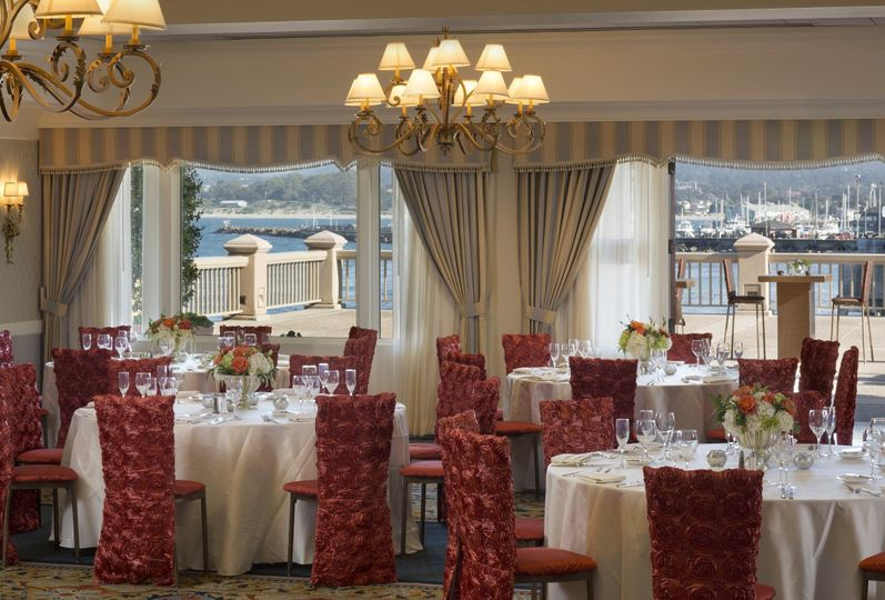 Dolphins ballroom offers elegant seating and stunning views of monterey bay