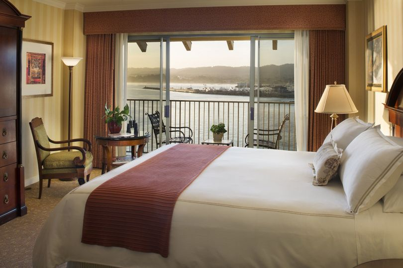 A guestroom overlooking the iconic monterey bay harbor
