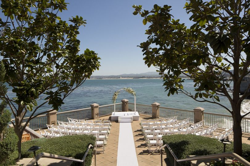 Breathtaking lower terrace overlooks the majestic monterey bay