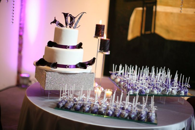 Wedding cake and cake pops.  Purple was their theme color!