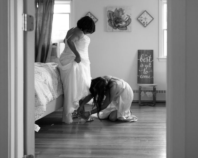 Daughter helping mom