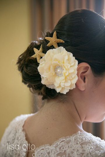 Updo with starfish and flower