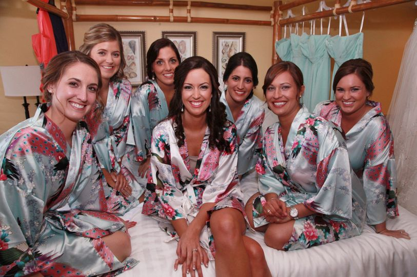 Bride and bridesmaids in their robes