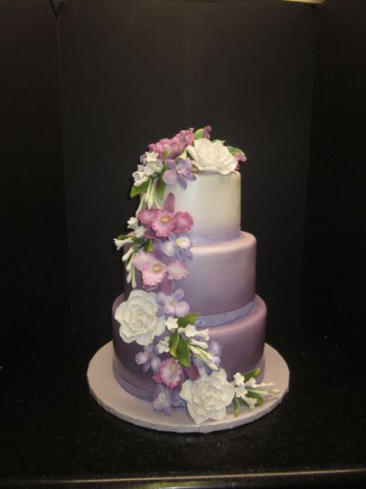 3 Tier Lavendar Ombre Cake With Fondant And Sugar Flower Cascade
