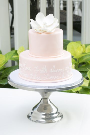 2 tier blush fondant cake with prose and sugar magnolia