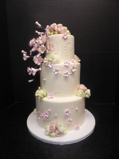 3 tier blush fondant with sugar cherry blossoms