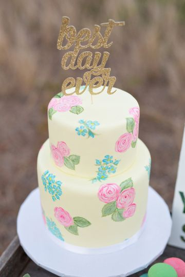 2 tier hand painted pale yellow fondant cake