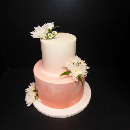 2 tier white to medium blush pink ombre buttercream with fresh flowers