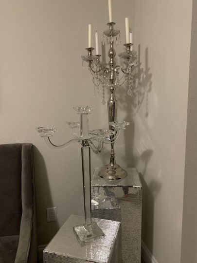 Glass candleabras