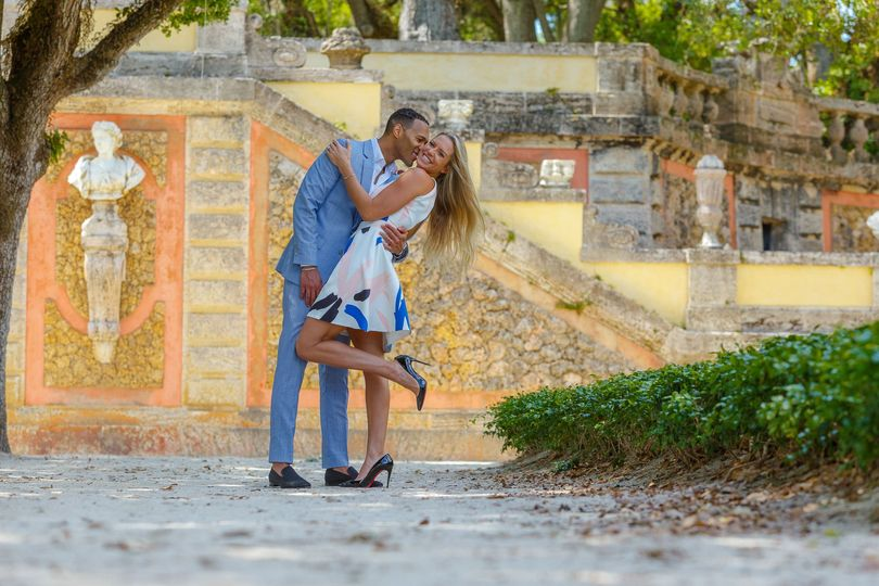Engagement photography at Vizcaya Museum and Gardens
