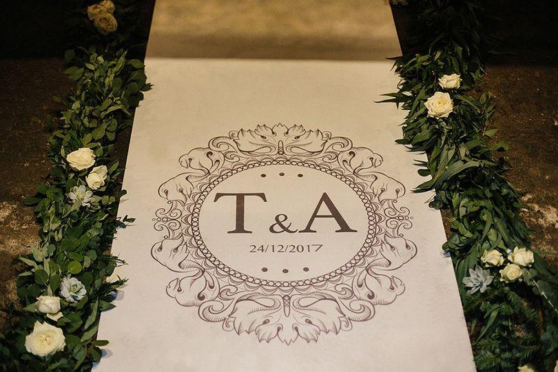 Monogram and aisle decor
