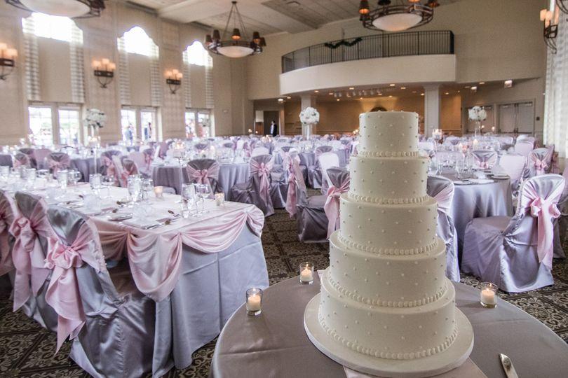 Wedding cake and reception set-up