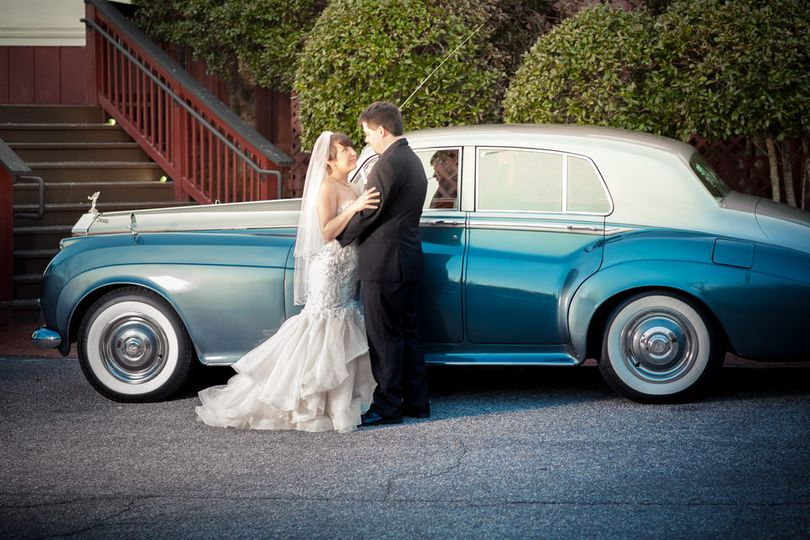 Couple beside a classic car - John Marquez Photography