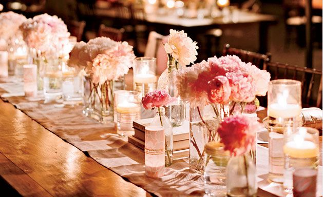 Tablescape with peonies