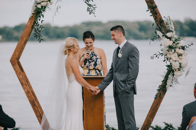 Geometric arch - lake ceremony
