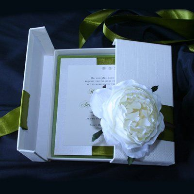 Boxed couture invitation with silk peony