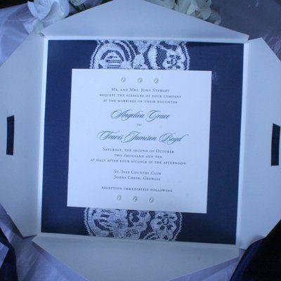 Pearl and lace square invitation