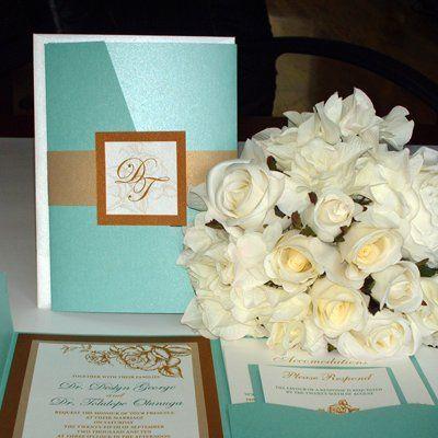Aqua and Gold wedding invitation ensemble