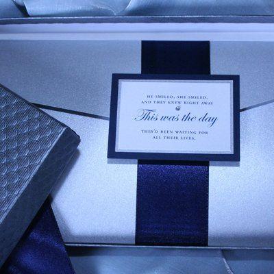 6x9 Silver and Navy classic pocket invitation