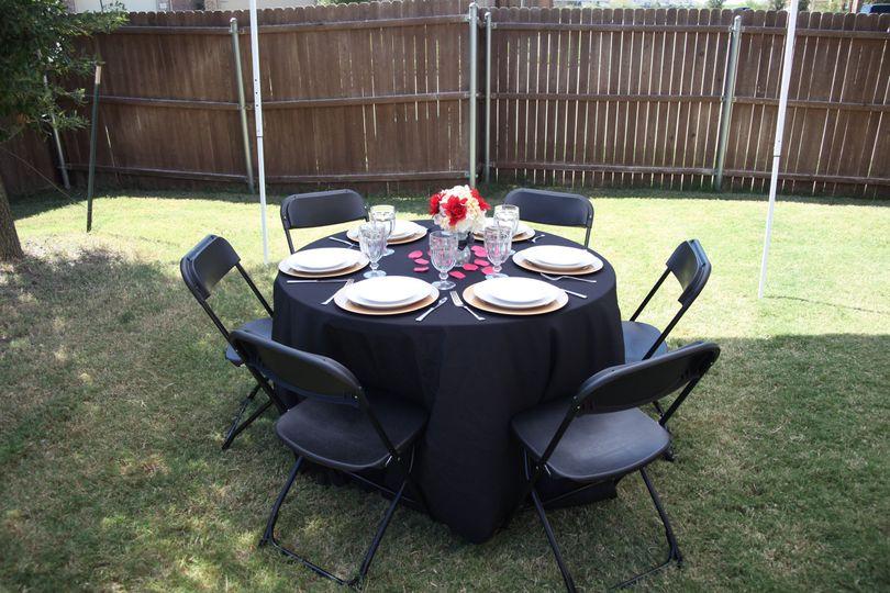 Garden dining setup