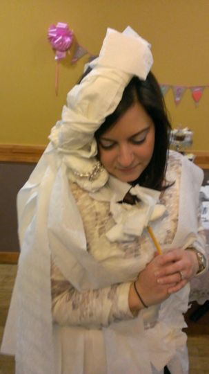 This is actually a game from the bridal shower!...Make a bride with paper!