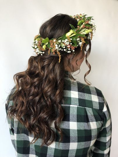 Bohemian waves with floral crown