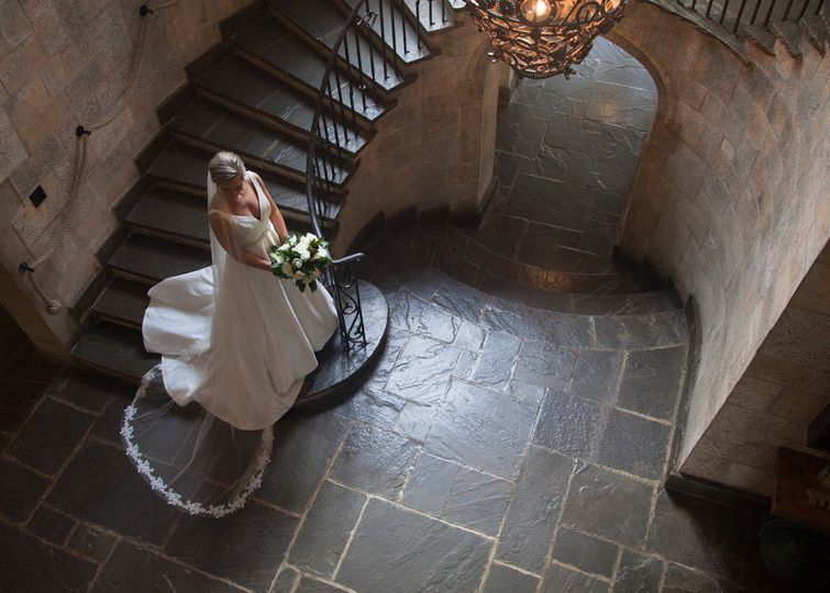 Bride ascending the stairs