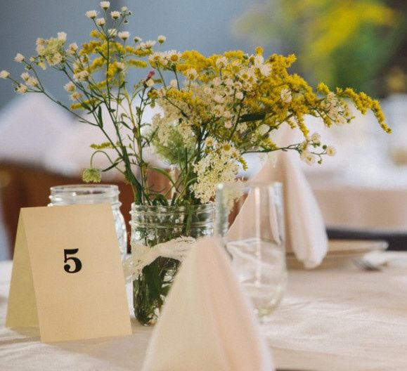 Table set up with centerpiece
