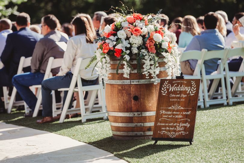 Wine barrels and signs