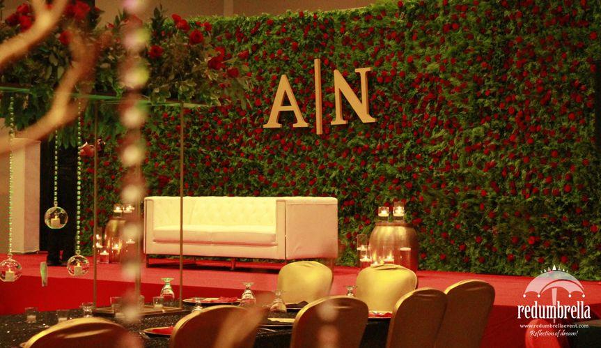 Green Wall Wedding Reception