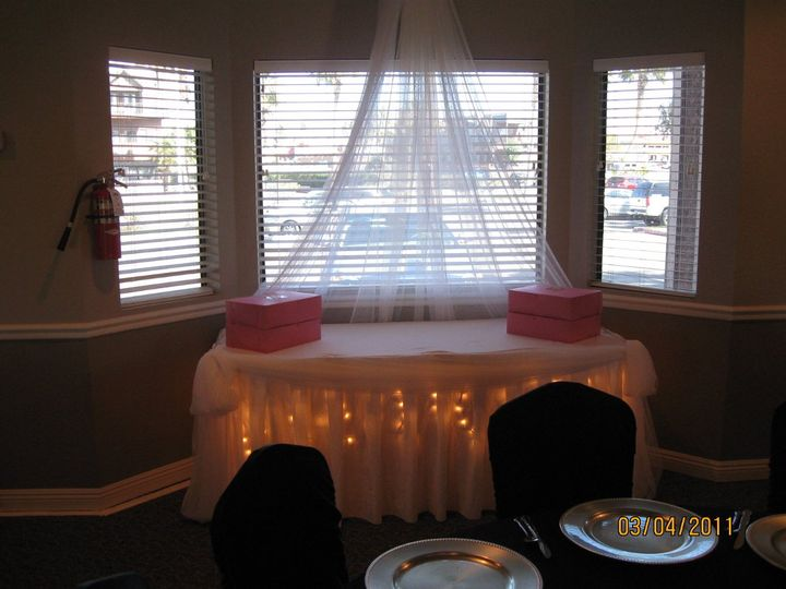 Cake Table decor of a canopy overheadd and fairy lighting making a beautiful showcase for the...