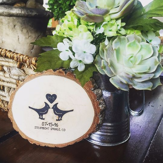 Save the date stamped wood