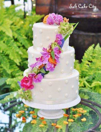 cascading flowers dots wedding cake