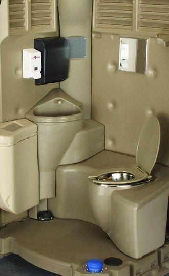Deluxe portable restroom interior