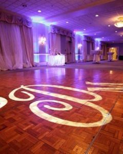 This is your monogram projected on the dancefloor. It can be on the wall as well. It can read what...