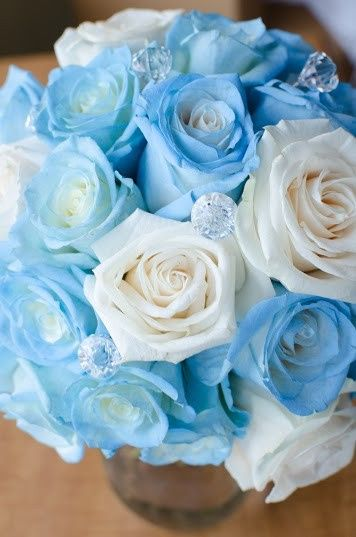 Blue and white roses with diamond studding